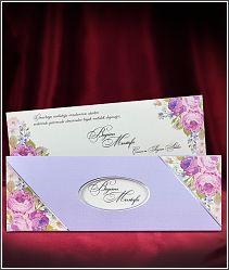 Světle fialové svatební oznámení s květinami 5546.