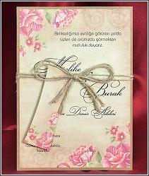 Svatební oznámení v retro stylu ve formě karty převázané režným provázkem 5551.