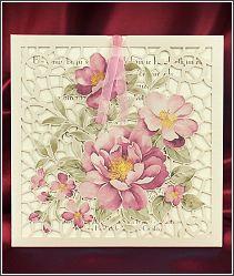 Svatební oznámení s děrovanou kapsou se starorůžovými květinami 5557.