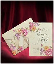 Svatební oznámení s luxusní předávací obálkou s květinami 5565.