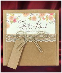 Moderní svatební oznámení s kapsou z recyklovaného papíru (kraftového papíru) 5580.